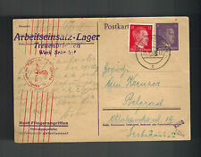 1943 Treuenbrietzen Germany Slave Camp postcard Cover to Yugoslavia Arbeitslager