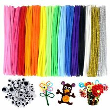 300pcs DIY Pipe Cleaners Set 100 Wiggle Googly Eyes Craft Gift 15 Colors