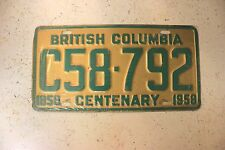Vintage 1958 CENTENARY BRITISH COLUMBIA C58-792 License Plate TAG
