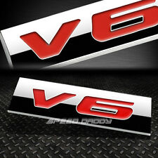 METAL GRILL TRUNK EMBLEM DECAL LOGO TRIM BADGE POLISHED CHROME RED LETTERING V6