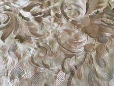 Mulberry Lee Jofa Linen Damask Upholstery Fabric Hampton Embroidery Silver 1.5yd