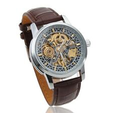 CJIABA Classic Case Men's Mechanical PU Leather Wrist Watch Hollow Engravin Gift