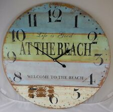 Wood Life Good WELCOME TO BEACH Large Clock Wall Nautical Clocks Round Vintage