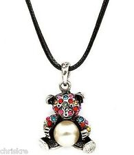 Silver Pearl Teddy Bear Necklace Pendant Panda Multicolor Crystals USA Seller