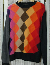 Vintage DARWIN Men's Argyle Jumper Colourblock Sweater Woolen Knitwear M 44""
