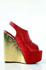GIARO SHOES RED GOLD UK5.5 6 EU39 HIGH HEELS WEDGE SEXY FETISH CD TV DRAG QUEEN