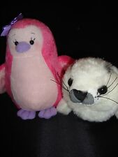 Webkinz PLUSH ONLY LOT 2 : PINK ICED PENGUIN + SPARKLE HARP SEAL- JUST  PLUSH !!