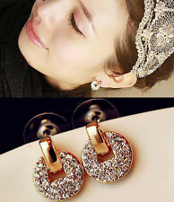 Fashion Women 18k Gold Plated White Crystal Rhinestone Dangle Ear Stud Earring