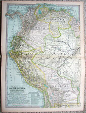 Original 1897 Map of North Western South America - Nicely Detailed