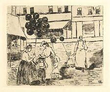 MARGARETE GEIBEL - Auf dem Jahrmarkt - Vernis mou 1907