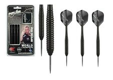 24g Phil Taylor Power Storm BLACK Brass Dart Set, Target Stems and Flights