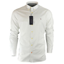 Men's Tommy Hilfiger Plain Shirt Long Sleeve Slim Fit Size S M L XL XXL