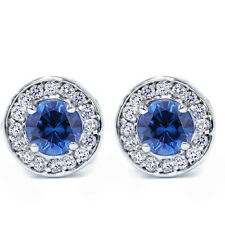 .70Ct Halo Real Diamond Genuine Round Blue Sapphire Studs 14K White Gold 1/3""