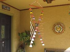 """WIND CHIMES INDOOR/OUTDOOR CLAY HANDMADE BELL SHAPES AND SOUND 40""""LONG"""