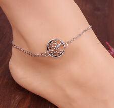Celebrity Simple Silver Plated Tree of Life Ankle Bracelet Chain Foot JEWELRY