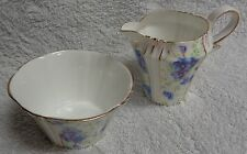 Royal Albert Crown China Pansy Panels Creamer and Open Sugar Bowl