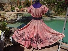 """Vintage 1950s Mexican handpainted circle skirt top rhinestones M 29"""" W cotton"""
