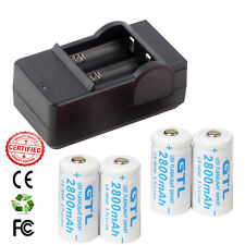 8 Piles Rechargeables CR123A 3.7V 123A CR123 16340 2800Mah Li-ion + CHARGEUR