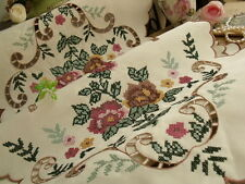 """VICTORIAN Cross-Stitch Embroidery Table Runner Scarf~PINK French SHABBY ROSE 45"""""""