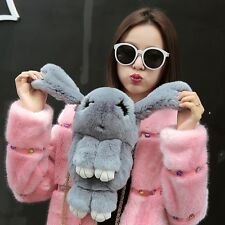 Women's Kawaii Faux Fur Shoulder Bags Bunny Small Backpack Tote Rabbit Cute Bag