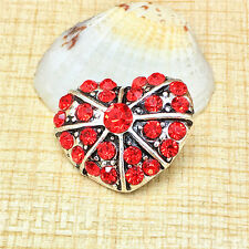 NEW Heart Red Rhinestone Charm Chunk Snap Button fit for Noosa Bracelet BUZ58