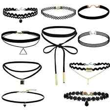 10 Pcs/Set Gothic Choker Set Black Velvet Leather Necklace Simple Chocker