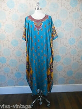 Vintage 80s Ladies Long Blue Paisley Sequinned Silky Kaftan Dress Boho One Size