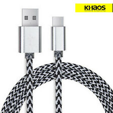 KHAOS Braided USB-C USB 3.1 Type C Male Data Sync USB Charger Cable 3FT Silver