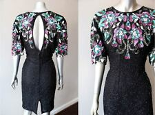 Retro Vintage 80s Embellished Beaded Sequin Silk Party Mini Cocktail Dress Sz L