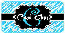 Personalized Monogrammed License Plate Auto Car Tag Zebra Initial Name Turquoise