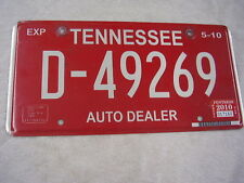 2010 TENNESSEE  DEALER LICENSE PLATE  D-49269