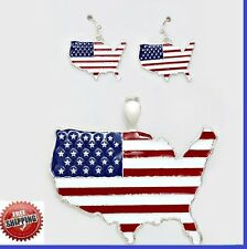 "American USA Flag Country Pride SIlver Pendant Necklace Earrings With 23"" Chain"