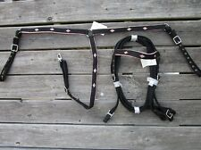 PINK ASCENT WESTERN HEADSTALL BREAST COLLAR SET REINS SHOW NYLON HORSE BRIDLE