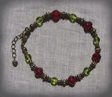 BRONZE FAIRY GREEN RUBY RED ROSE BRACELET VICTORIAN EDWARIAN VALENTINE FLOWER