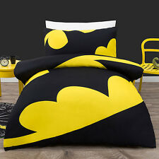 BATMAN LOGO DOUBLE BLACK YELLOW  bed QUILT DOONA DUVET COVER SET NEW