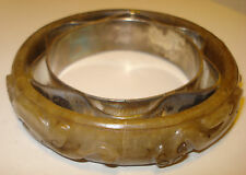 ANTIQUE VINTAGE CHINESE HARDSTONE OR JADE BANGLE OR HANDLE WITH CARVED CATS