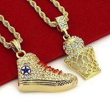 "Gold Plated Hip Hop Iced Out Basketball & Shoe Pendant w/ 4mm 24"" Rope Chain"
