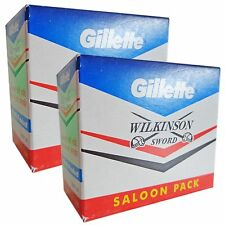 100 Blades Gillette WILKINSON SWORD Saloon Pack Double Edge Safety Razor Blades!