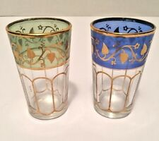 Set of 2 Fath Glass Cordial Moroccan Tea Glasses Green Gold Blue Gold Tall Shot