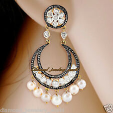 Estate Vintage 5.29cts Rose Antique Cut Diamond Pearl Jewelry 925 Silver Earring