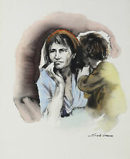 Sandu Liberman (Romanian 1923-1977) Watercolor on Paper Migrant Mother Signed