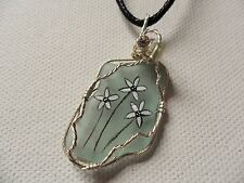"Hand painted daisy sea glass necklace - 18"" black cord wearable art jewellery"