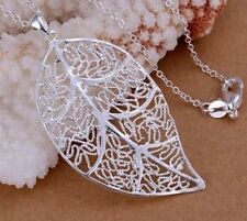 Stunning 925 Sterling Silver Filigree Leaf Pendant Charm Necklace Chain  Gift
