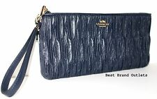 $248 COACH - Madison Gathered Leather Zip Clutch Wristlet 66082E Navy - NWT!