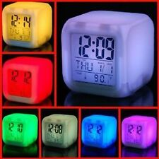 Square Color Changing Digital LCD Alarm Table Desk Clock with Calender Time