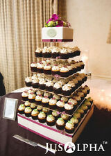 7 Tier Crystal Clear STRONG Acrylic Square Wedding CupCake Stand Tower
