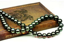 "top luster 18""6-7mm natural real round TAHITIAN black green pearl necklace 14K"