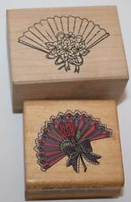 """2 Fan Rubber Stamp Scrapbooking #689 Rose with fan other unmarked 1 1/2-2"""" each"""