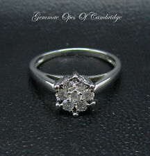 18ct White Gold Brilliant Cut 0.42ct Diamond Daisy Cluster Ring Size K 2.9g