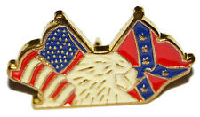 American Civil War Confederate & Union Crossed Banners Pin Badge With Eagle USA
